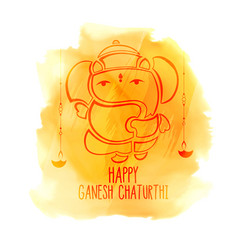 Happy ganesh chaturthi festival watercolor vector
