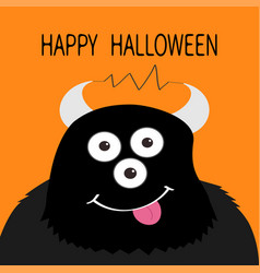Happy halloween card monster head with eyes horns vector