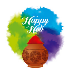happy holi color powder decorated poster vector image