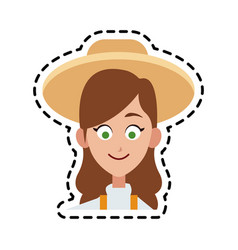 happy pretty woman icon image vector image