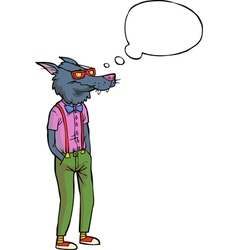 Hipster wolf vector
