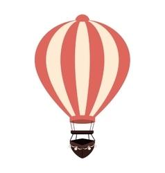 hot balloon basket pink icon vector image