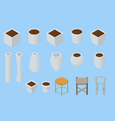 isometric original flower pots and vases white vector image