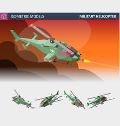 isometric single-engine attack helicopter set vector image