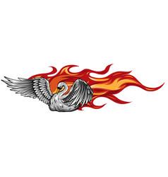Logo fire swan gradient vector