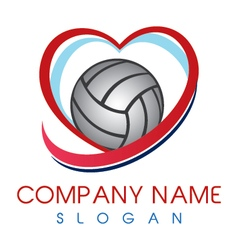 love volleyball logo vector image