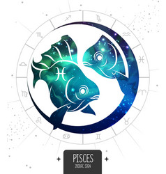 Magic card with astrology pisces zodiac sign vector