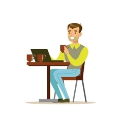 Man Drinking His Third Cup Of Coffee In The Coffee vector