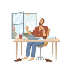 Man working in heat in office with open window vector