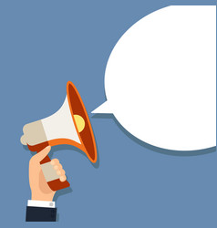 megaphone in hand with bubble marketing vector image