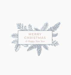 Merry christmas abstract botanical card with vector