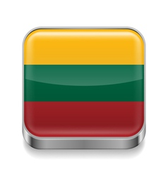 Metal icon of Lithuania vector image