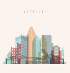 Montreal province quebec skyline detailed silhouet vector