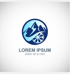 Mountain ice flower logo vector