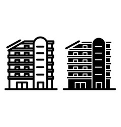 Multistory house line and glyph icon building vector