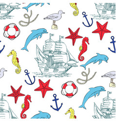 nautical seamless pattern with sailing vessels vector image