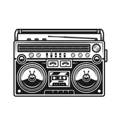 old style music boombox black vector image