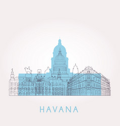 outline havana skyline with landmarks vector image
