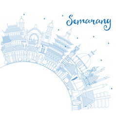 outline semarang indonesia city skyline with blue vector image