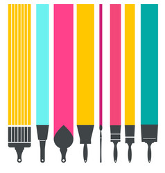 Paint brushes with colorful lines vector