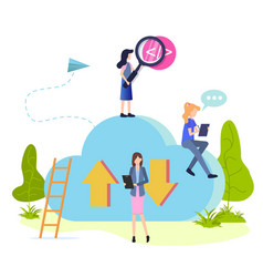 People work and search cloud storage flat cartoon vector