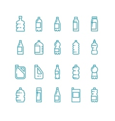 Plastic bottles line icons set vector