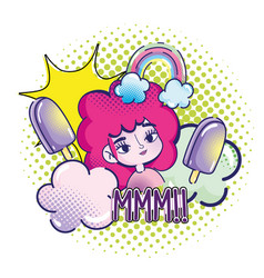 pop art cute girl pink hair ice creams rainbow vector image