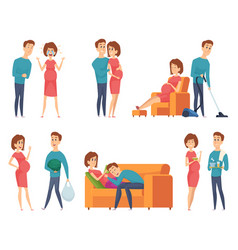 pregnant couples happy young family mother vector image