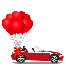 red modern opened cabriolet car with bunch of red vector image