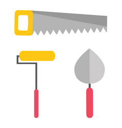 repair tool saw and roller putty knife vector image