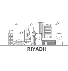 riyadh architecture line skyline vector image