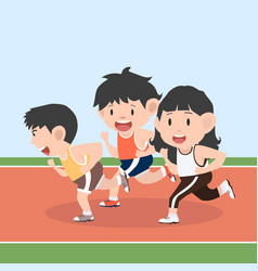 runner attractive running in racetrack set vector image
