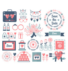 Rustic hand drawing wedding elements set vector