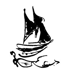 sailing ship ink sketch on white background vector image
