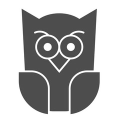 Scary owl solid icon forest night bird halloween vector
