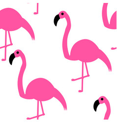 seamless pattern pink flamingos on a white vector image