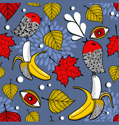 seamless pattern with red maple leaves and forest vector image