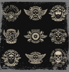 set biker emblems racer skull with crossed vector image