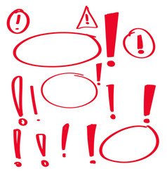 Set hand drawn exclamation mark vector