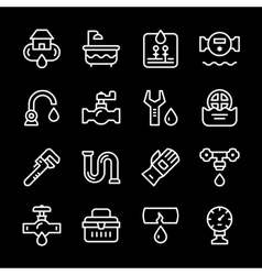 Set line icons of plumbing vector image