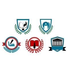 Set of abstract university or college symbols vector