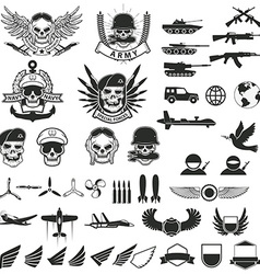 Set of military labels badges emblems and design vector