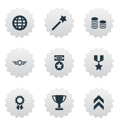 Set of simple champ icons vector