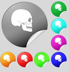 Skull icon sign Set of eight multi colored round vector image