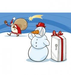 snowman and Santa vector image