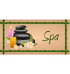 spa salon banner with stones thai massage wood vector image
