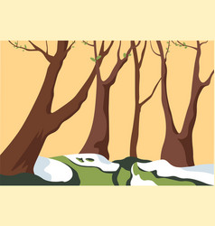 spring forest with melting snow and blooming tree vector image