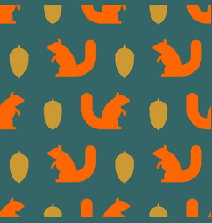 squirrel and nut pattern kids fabric texture vector image