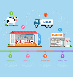 Stages of milk production infographics vector