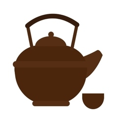 Stovetop whistling kettle kitchen teapot flat vector image